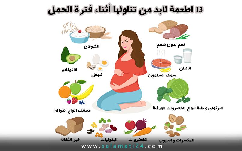13 اطعمة لابد من تناولها أثناء فترة الحمل